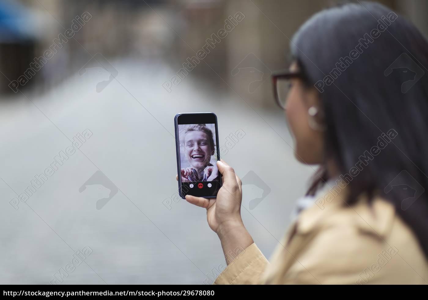 frauen, freunde, video, chatten, auf, dem - 29678080