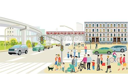 stadtsilhouette mit strassenverkehr und erhoehtszug menschen