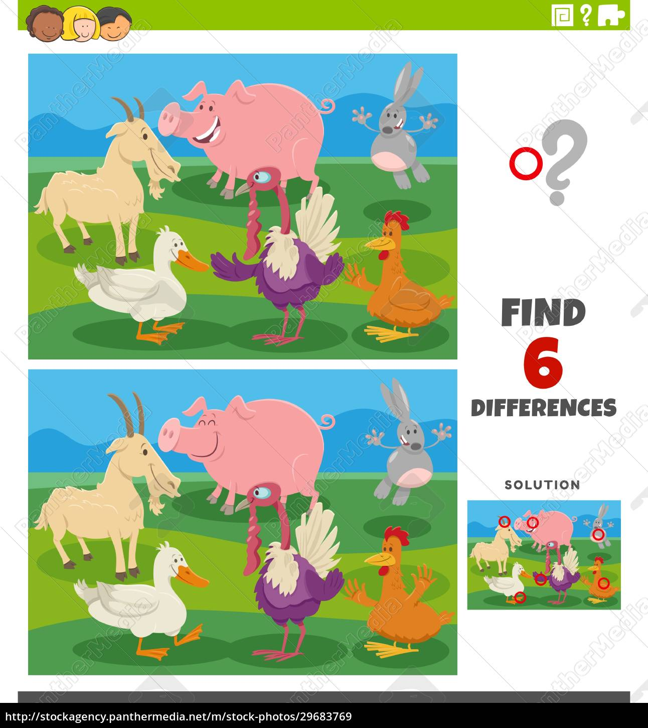 differences, educational, task, with, cartoon, farm - 29683769