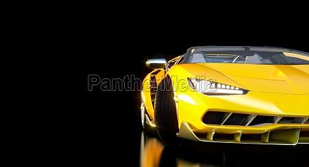 modernen gelben sportwagen auf dunklem hintergrund