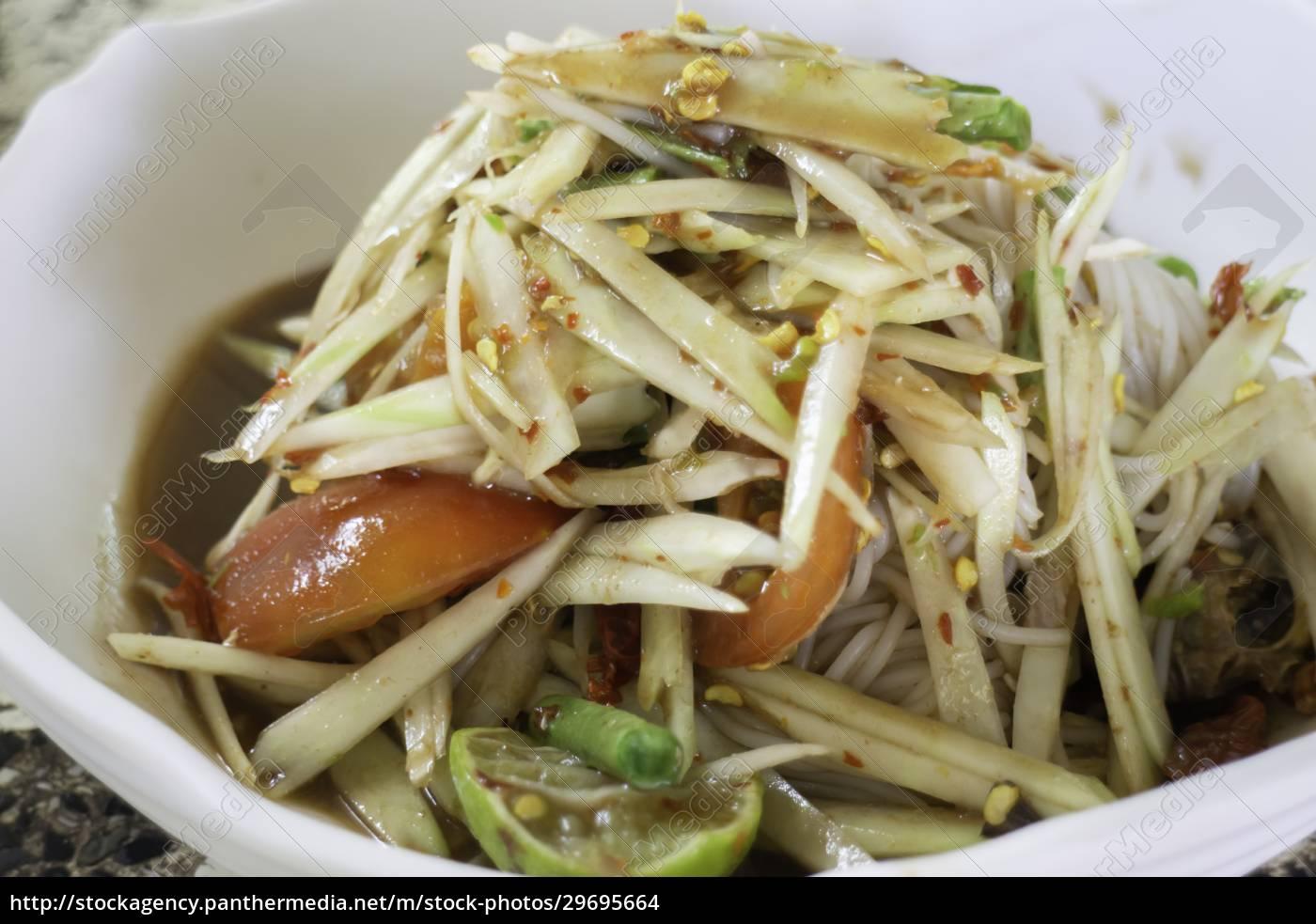 spicy, green, papaya, salad, serve - 29695664