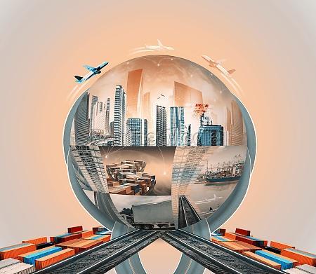 industrielles containerfrachtschiff fuer den import oder