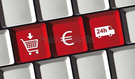 online shop prinzip auf computer tastatur