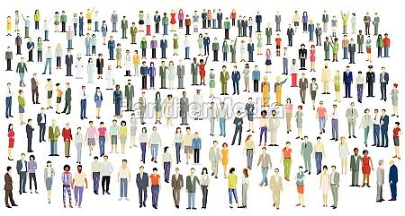 grosse menschenmenge gruppe von menschen isoliert