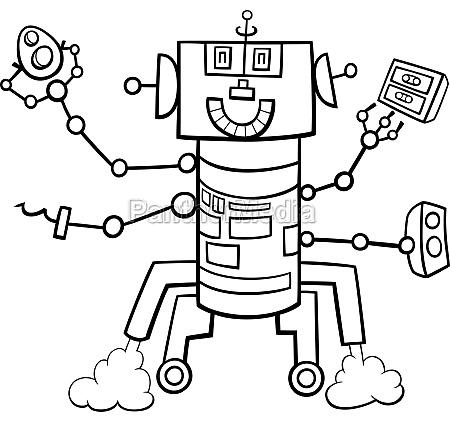 cartoon roboter fantasie charakter faerbung buchseite