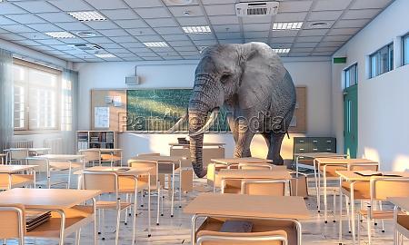 grossen elefanten in einer schule konzept