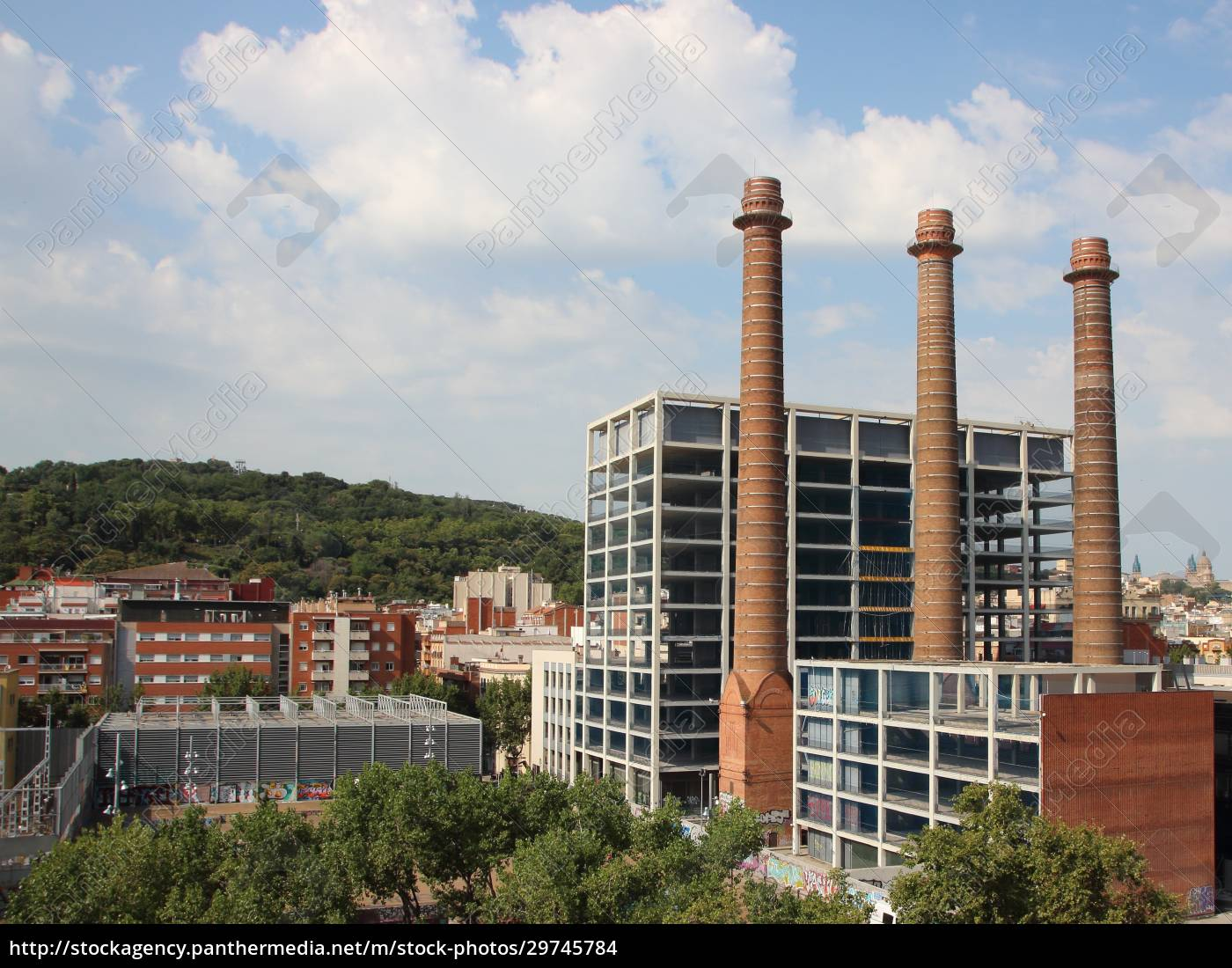 three, chimneys, park, in, city, barcelona - 29745784