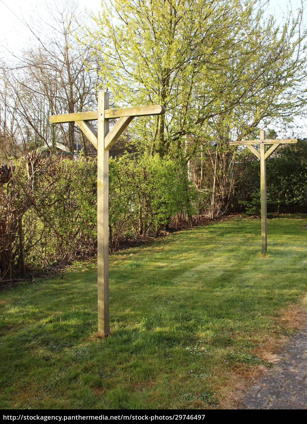 wooden, drying, rack, on, lawn, in - 29746497