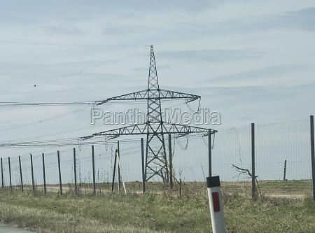 energieversorgung mit 380 kv stromleitung und