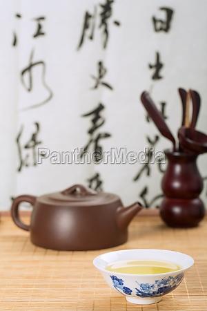 gelassenheit chinesische elemente asien teekanne tee