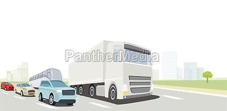 straßenverkehr, mit, lkw, bus, und, pkw - 29757489