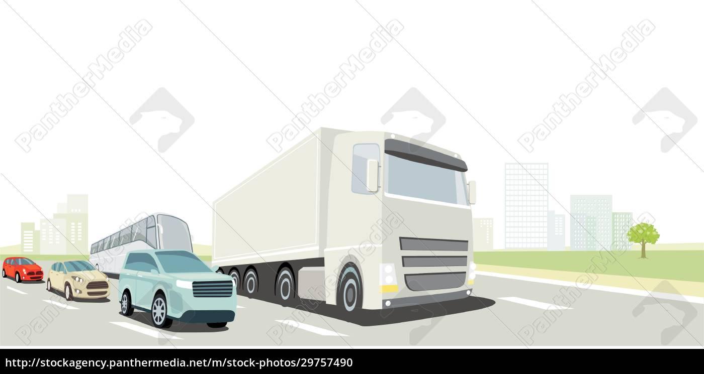straßenverkehr, mit, lkw, bus, und, pkw - 29757490