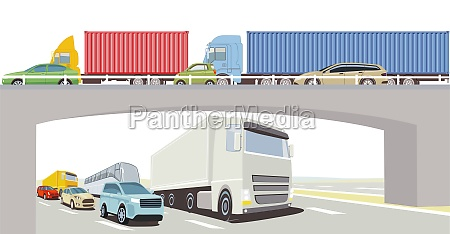 autobahnbruecke mit lkw bus und pkw