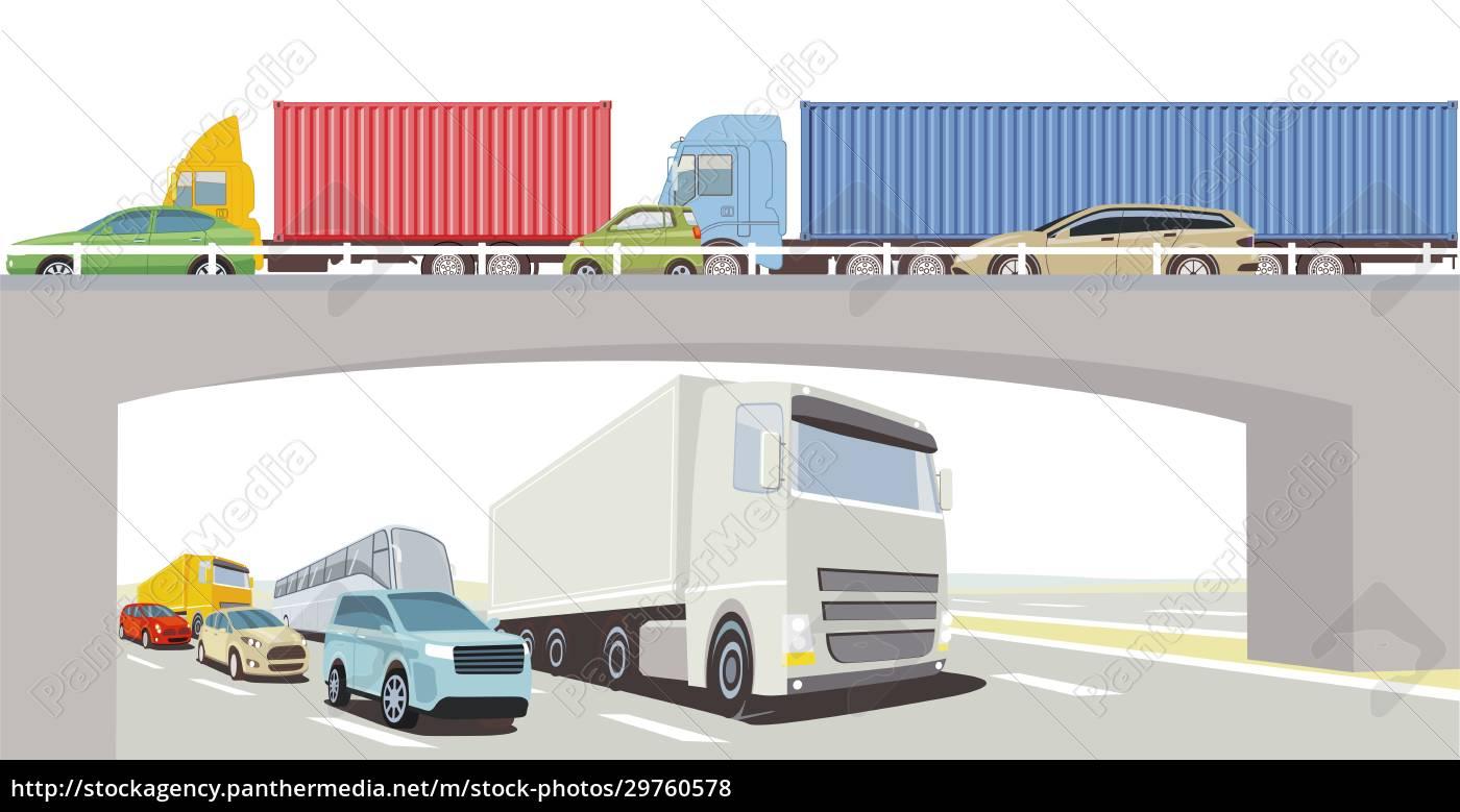 autobahnbrücke, mit, lkw, bus, und, pkw - 29760578