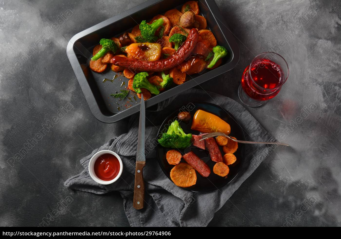 homemade, baked, orange, sweet, potato, slices - 29764906