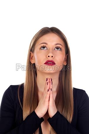 stilvolle frau betet