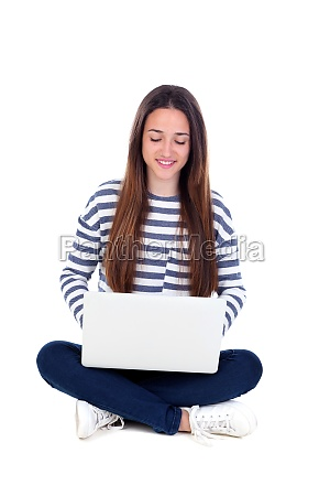 schoene junge studentin mit laptop