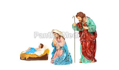 traditionelle weihnachtskrippe mit maria und josef