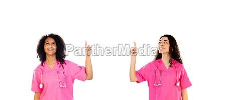 zwei, junge, studentenärzte, in, rosa - 29781722