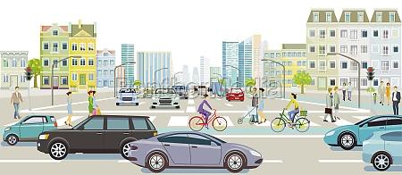 straßenverkehr, mit, personen, auf, dem, zebrastreifen, abbildung - 29785313