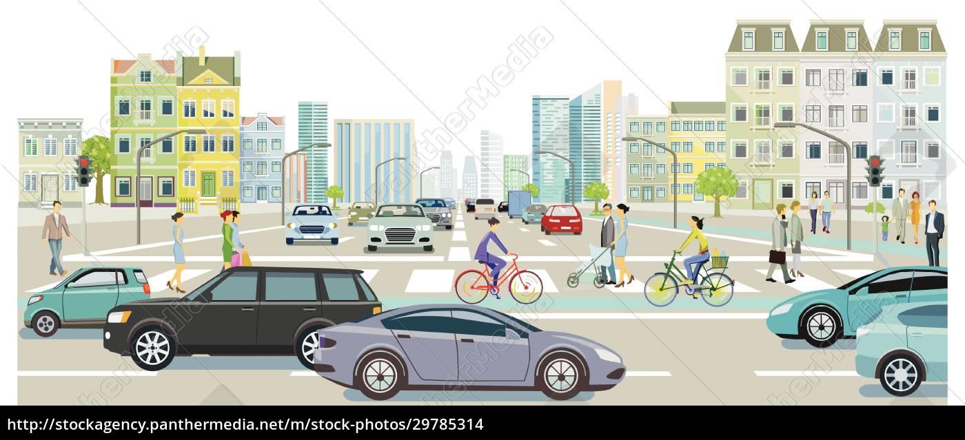 straßenverkehr, mit, personen, auf, dem, zebrastreifen, abbildung - 29785314