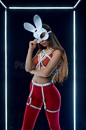 in, kaninchen, maske, tanzen, in, leuchtenden - 29787711