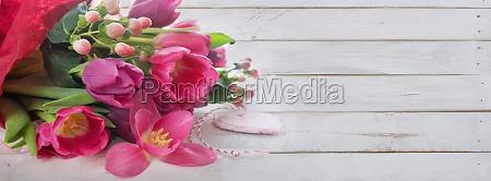 purple, tulips, on, white, vintage, planks - 29792380