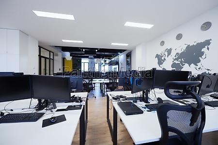 coworking empty office business computer desk