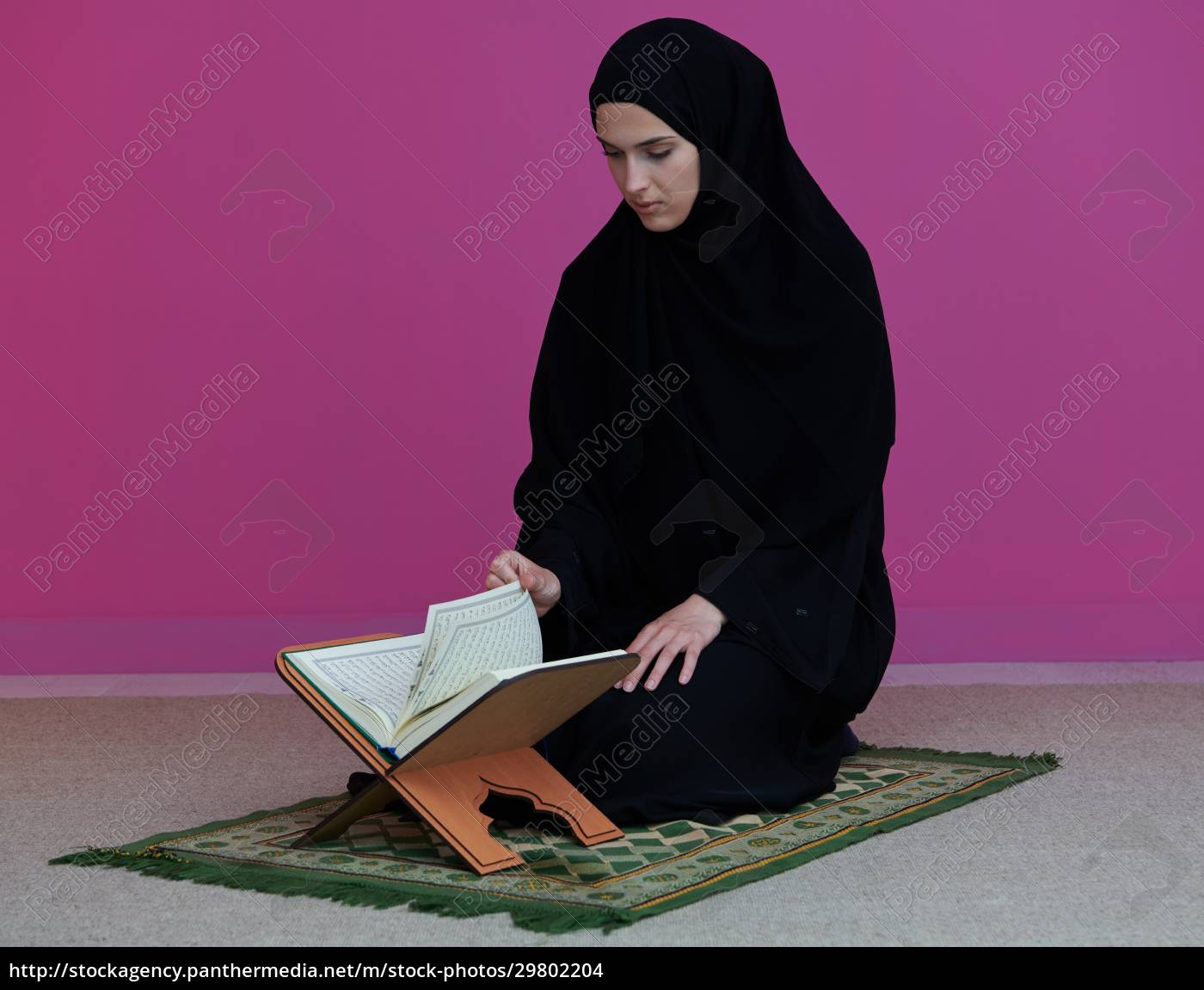 middle, eastern, woman, praying, and, reading - 29802204