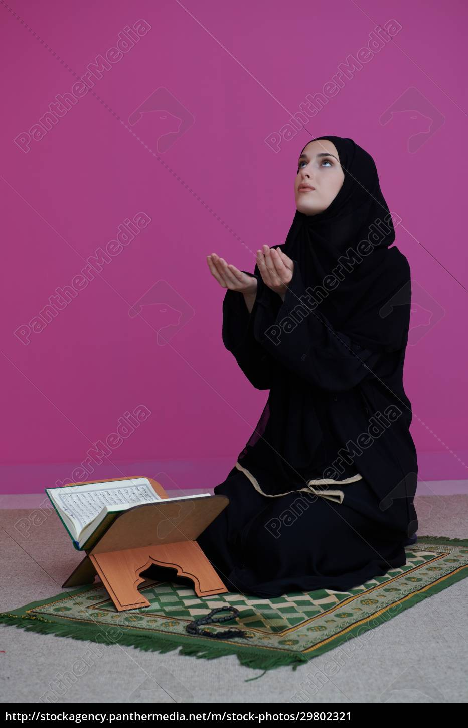 middle, eastern, woman, praying, and, reading - 29802321