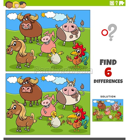 differences, educational, game, with, cartoon, farm - 29809165