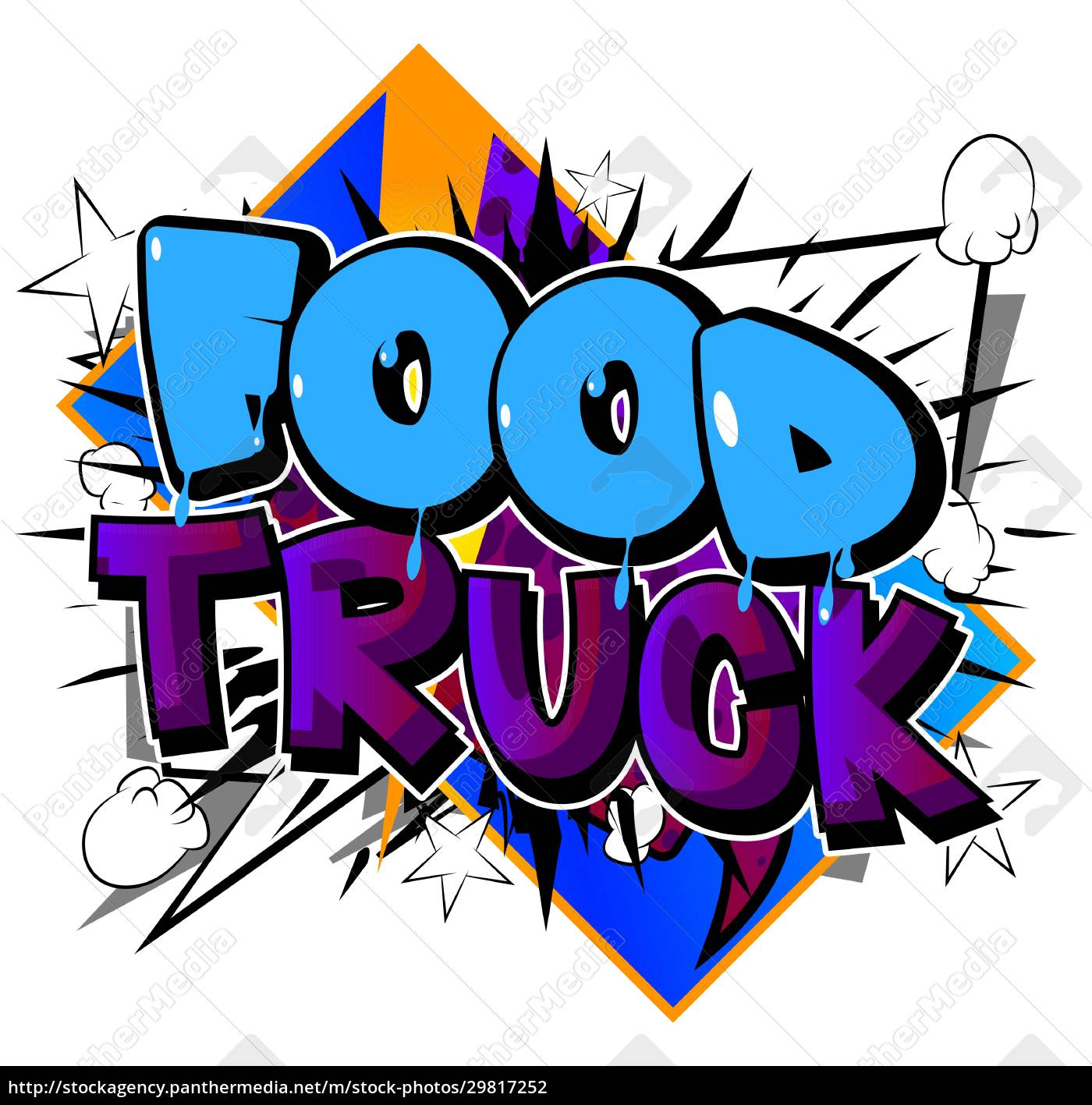food, truck, -, comic-buch-stil-text. - 29817252