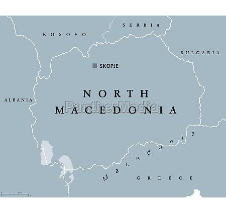 north, macedonia, , gray, political, map, , with - 29823904