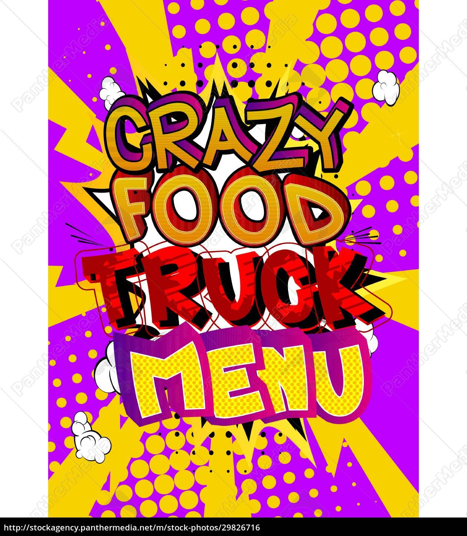 crazy, food, truck, menü, -, comic-buch-stil-text. - 29826716