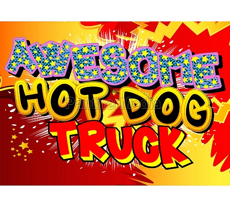 ehrfürchtig, hot, dog, truck, -, comic-buch-stil-text. - 29831079