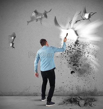 man, breaks, a, wall - 29833006