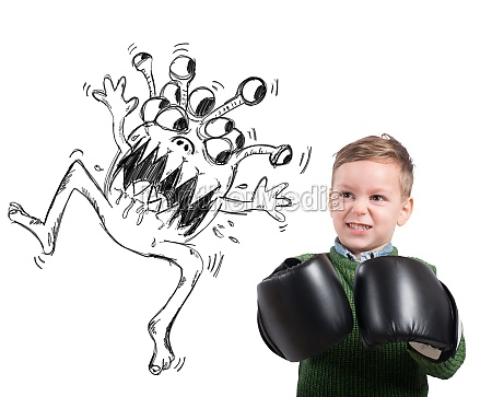 kind steht vor einem virus
