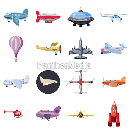 luftfahrt ikonen set cartoon stil