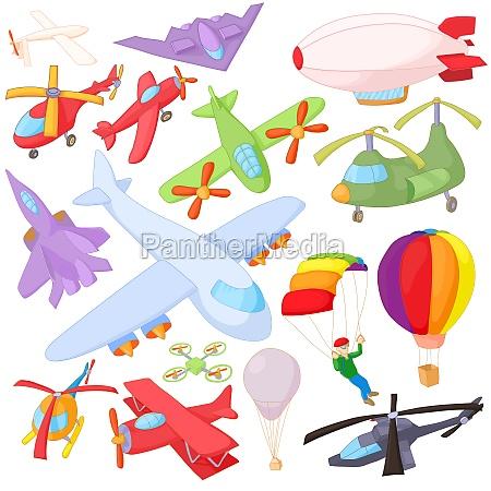 luftfahrt icon set cartoon stil