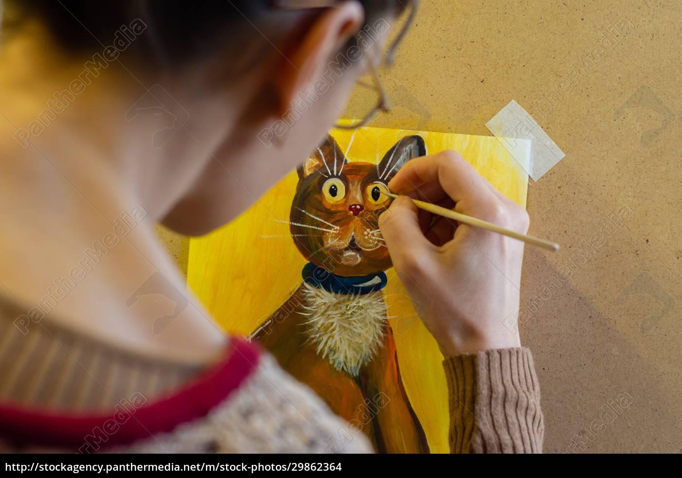 der, künstler, malt, eine, zeichnung, einer - 29862364