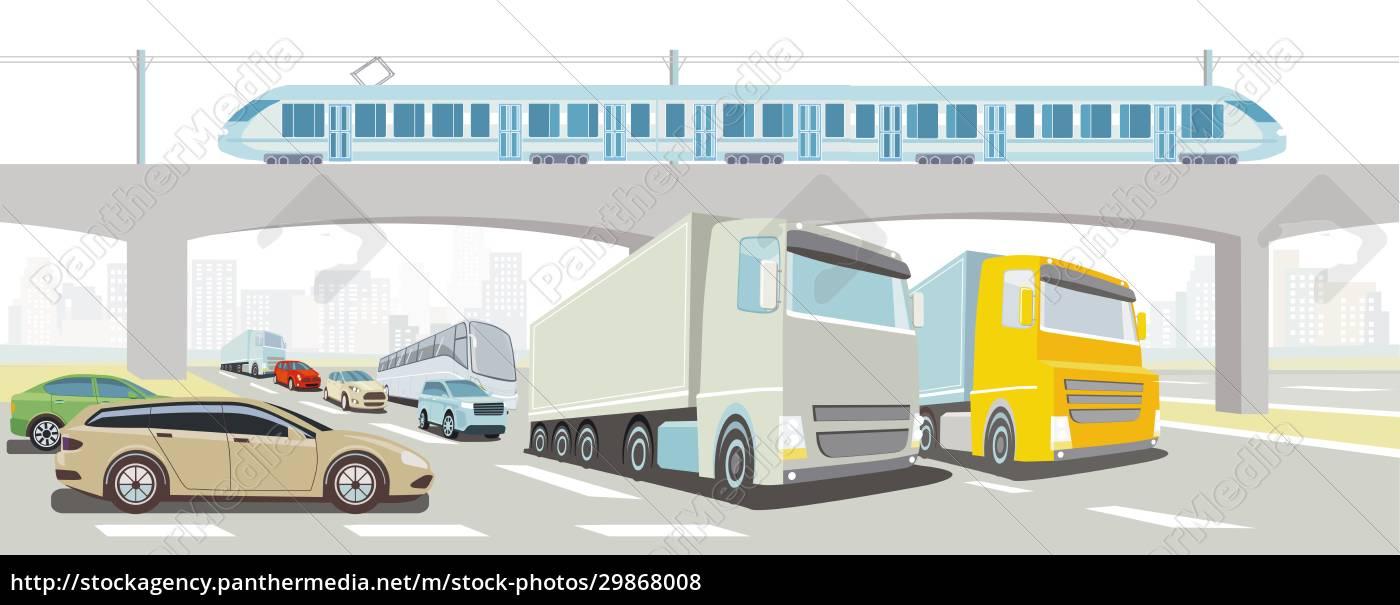 autobahnbrücke, mit, schnellzug, lkw, bus, und, pkw - 29868008