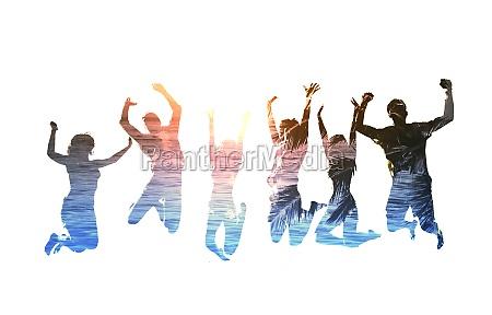 silhouette von springenden freunden mit hintergrund