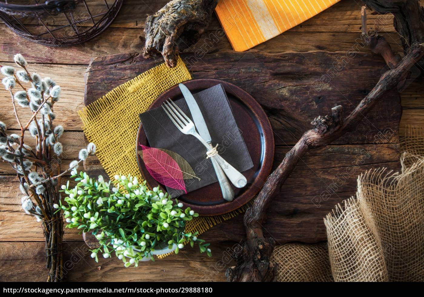 spring, table, setting, -, cutlery, on - 29888180