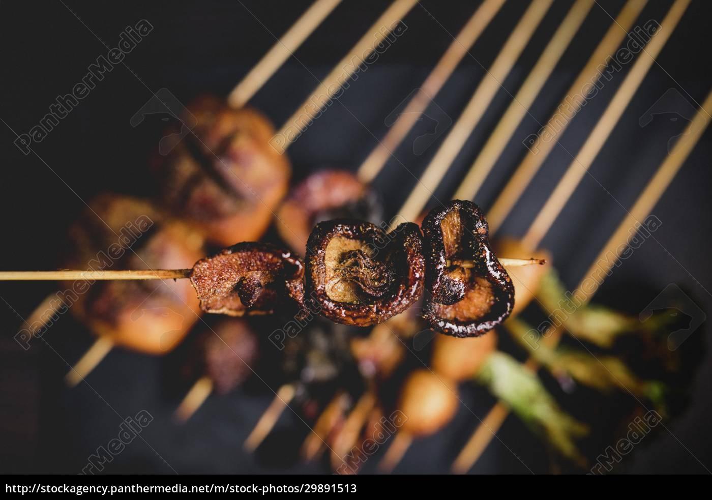 cooked, hot, mushroom, skewer, over, table - 29891513