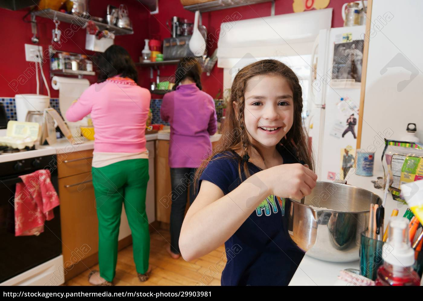 girl, in, kitchen, with, mother, and - 29903981