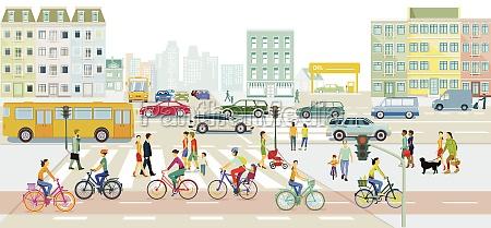 stadtlandschaft mit strassenverkehr und fussgaengern illustration