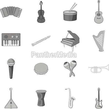 musikinstrumente icons set