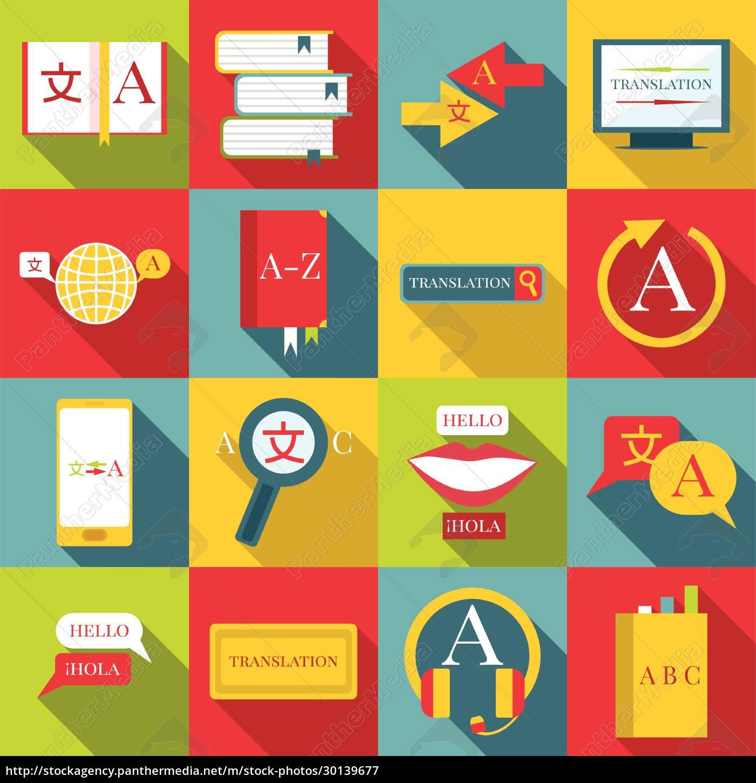 translator, profession, icons, set, , flat, style - 30139677