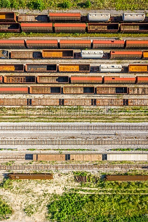 aerial, view, of, cargo, trains, stationed - 30153141