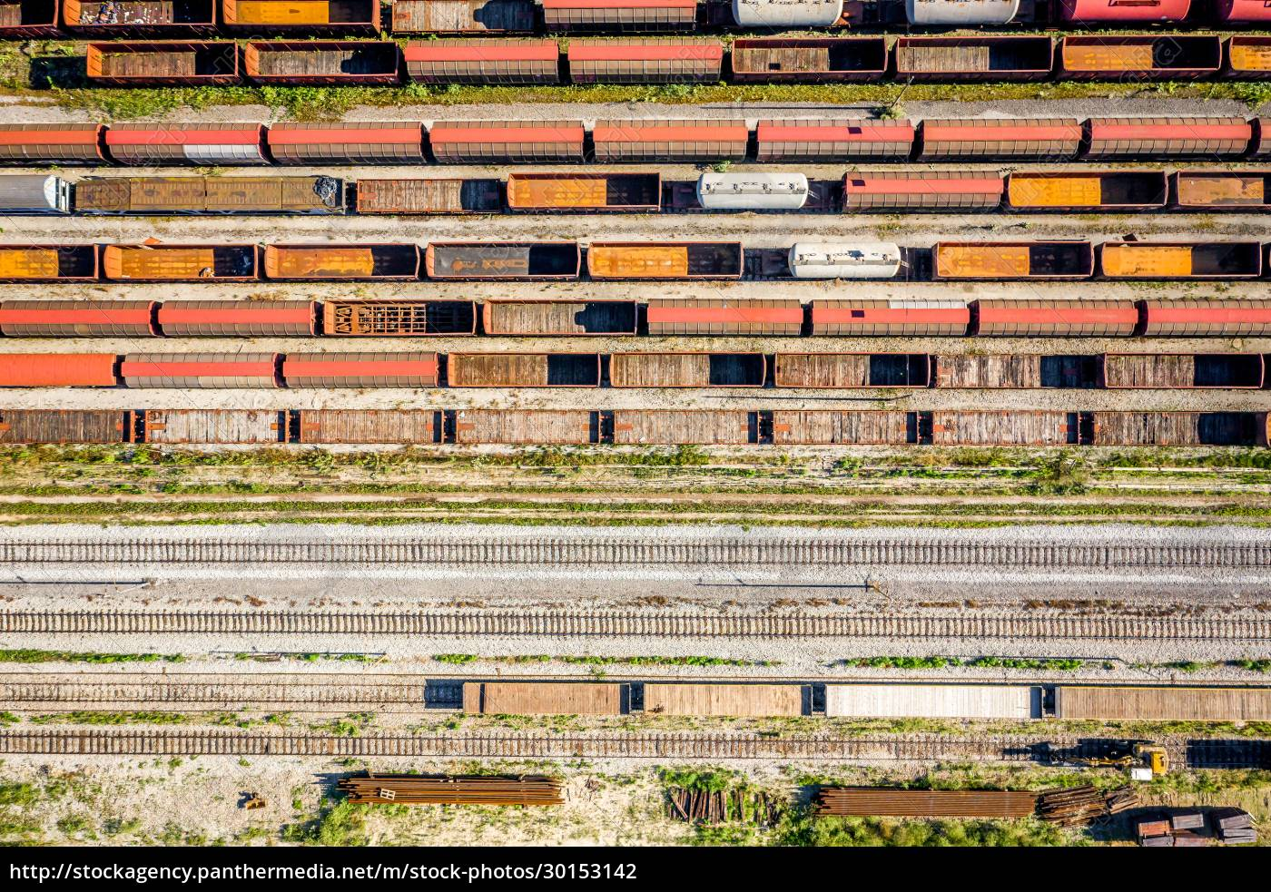 aerial, view, of, cargo, trains, stationed - 30153142
